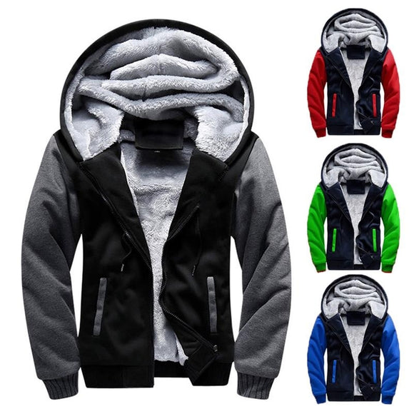 Men Winter Jacket Hooded Jacket for Men Sport Coat Warm Coat Fleece Hoodie High Quality