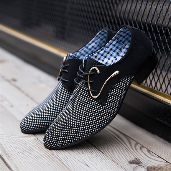 ( White, Blue)Popular Men's Lace-up Casual Pointed Trendy Leather Shoes