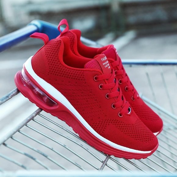 Air Cushion Sports Shoes Unisex Fashion Running Shoes Lovers Shoes Comfortable Breathable Mesh Shoes Flying Woven Shoes