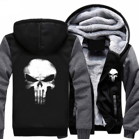 The Punishing Skull 2017 USA Size Punisher Skull Cosplay Coat Zipper Hoodie Winter Fleece Unisex Thicken Jacket Sweatshirts