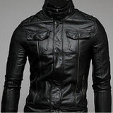 Men Fashion Cool Akio Motorcycle Leather Pocket Jacket Coat