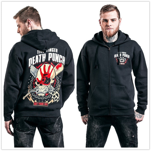 Five Finger Death Punch Got Your Six Hooded Zip Hoodies & Sweatshirts Black