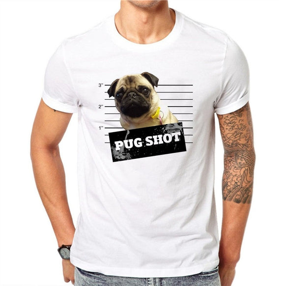 100% Cotton Cute Dog Design Men Casual Tops French Bulldog T-shirt Novelty Short Sleeve Tee Pug Shot Printed White Shirts
