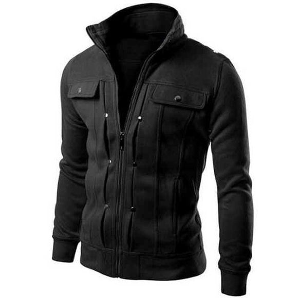 Men Jacket Hoodies New Fashion Brand Cotton Autumn Winter Men Sport wear Men Fleece Sweatshirts Stand Collar Slim Fit Tracksuits