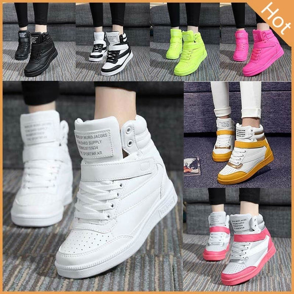 2017 Fashion Women Canvas Shoes Lace up High Tops Flats Shoes Women Casual Shoes Increased Sports Sneakers