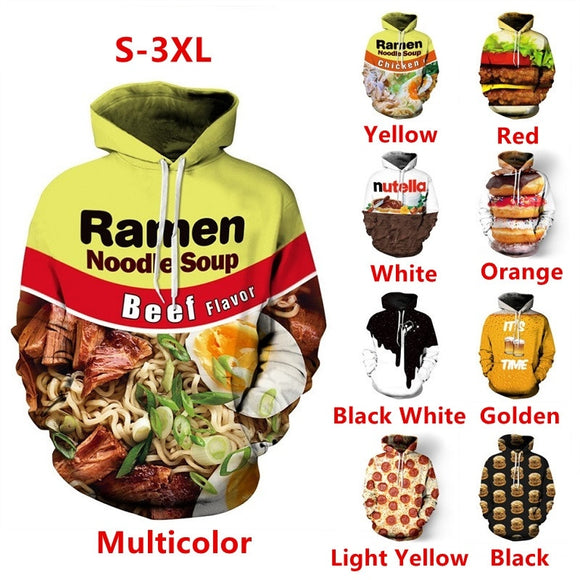 Fashion Men Women Plus Size 3D Print Food Loose Couples Hoodies Casual Hip Hop Unisex Hooded Sweatshirt