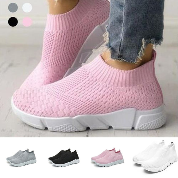 2018 New Flat-bottomed Casual Shoes Large Size Sports Wind Single Shoes Knitted Breathable Women's Shoes 36-41