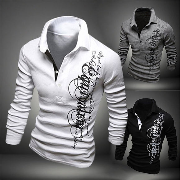 Spring and Summer Men's Fashion Long Sleeve POLO Shirts Letter Printed T-shirt with Turn-down Collar