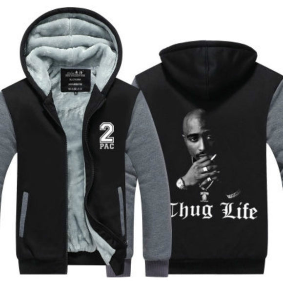 2017 New Tupac Amaru Shakur Winter Autumn Men Zipper Hoodie Fleece Thicken Jacket Sweatshirt Coat