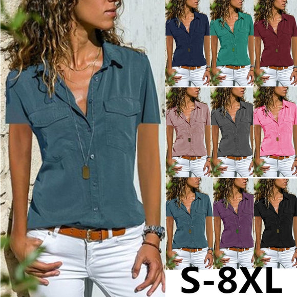 (S-8XL) 2019 Summer New Women's Fashion Lapel Short Sleeve Shirts Plus Size