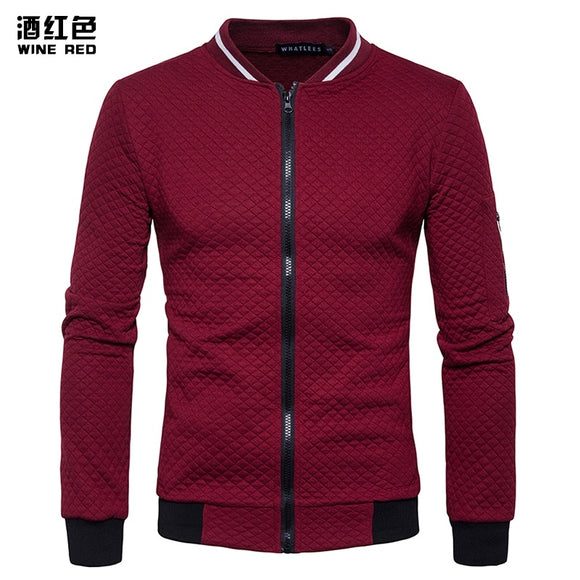 2016 foreign trade new winter men's diamond lattice contrast color zipper collar sweater coat off