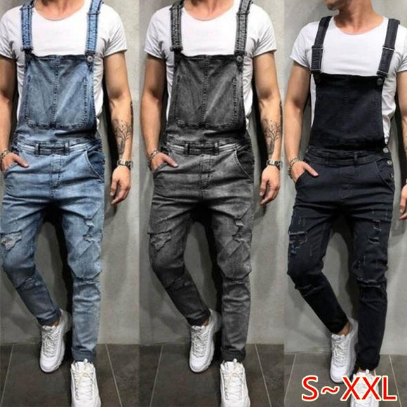1Pcs Men Fashion Ripped Jeans Jumpsuits Street Distressed Denim Overalls Suspender Pants