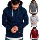 2018 New Men's Outdoor Sports Hoodie Fashion Solid Color Pullover Top Casual Hooded Sweater