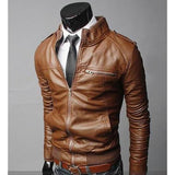 Men's Leather Coat, Collar, Motorcycle Leather Jacket