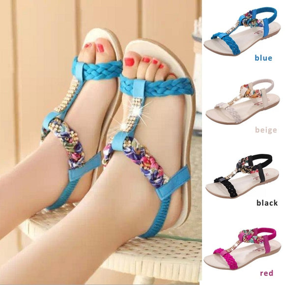 2016 new Fashion Sandals For Women Brief Comfortable Flat Heel Rhinestone Flat Open Toe Women Elastic Strap Women Sandals
