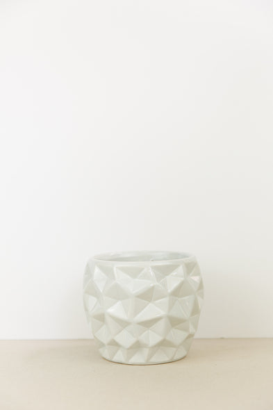 Geometric White Plant Pot