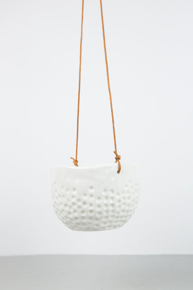 Hanging Ceramic Pot - White Dot