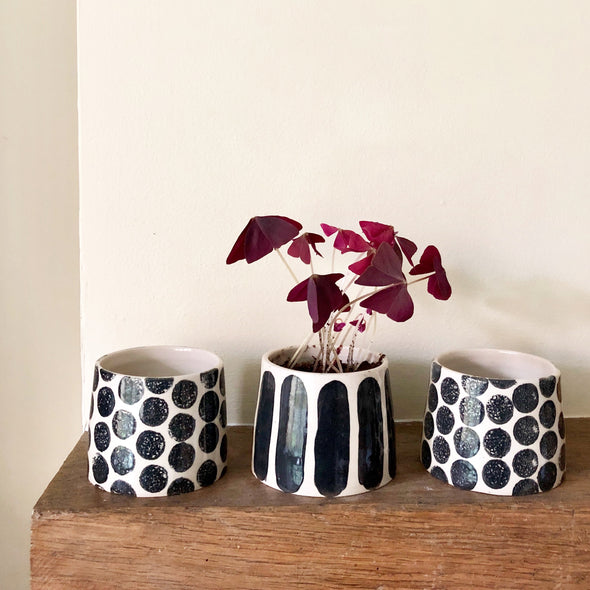 spots/stripes handmade ceramic plant pot
