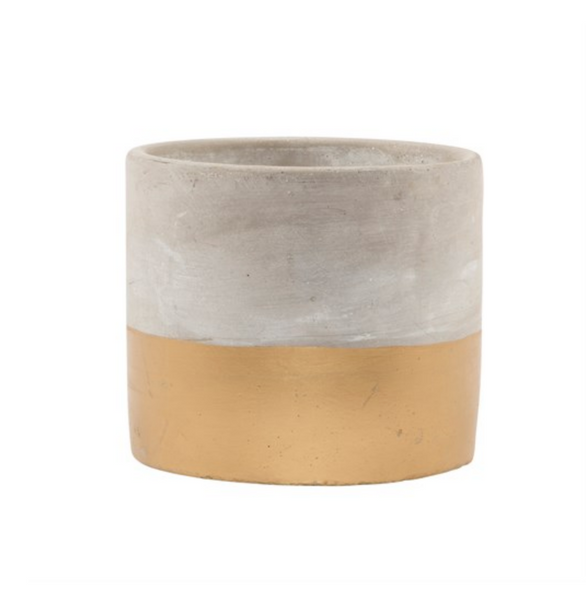 gold concrete plant pot small
