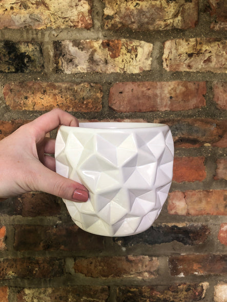 White geometric plant pot