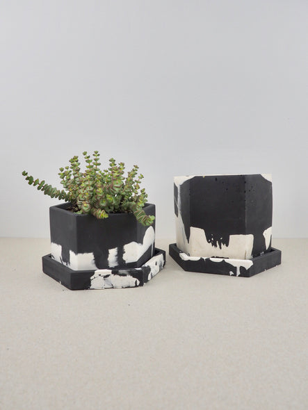 jesmonite hexagonal short plant pot