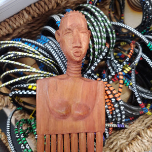 Handcrafted  Wood Comb-Shaped Wall Art from Kenya