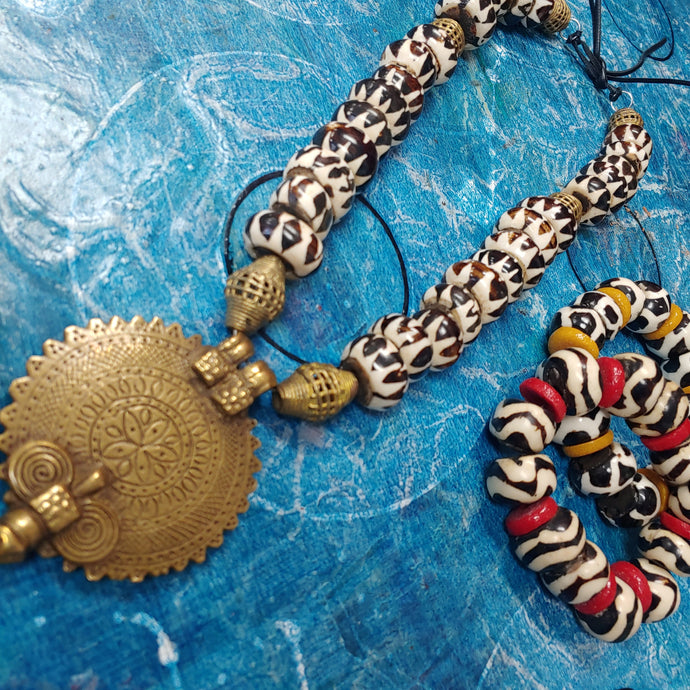 African Batik Necklace
