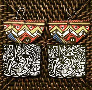 EARRINGS Wearable Art Afrocentric patterns & Mask