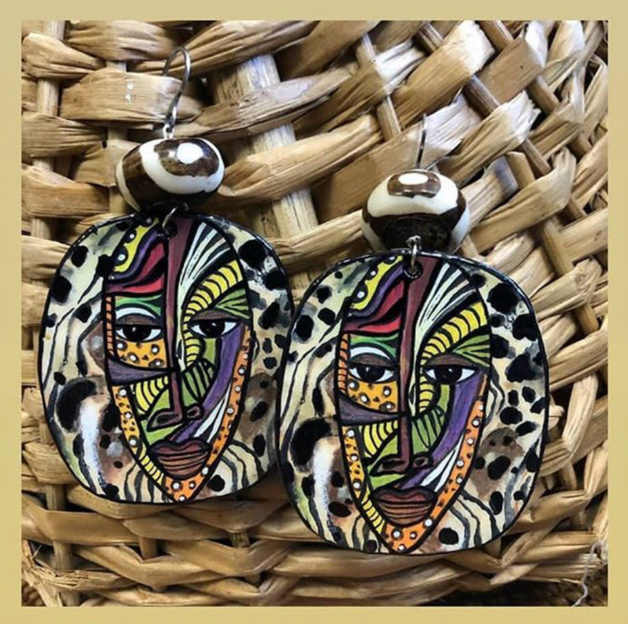 Via Wearable Art Earring Safari Mask