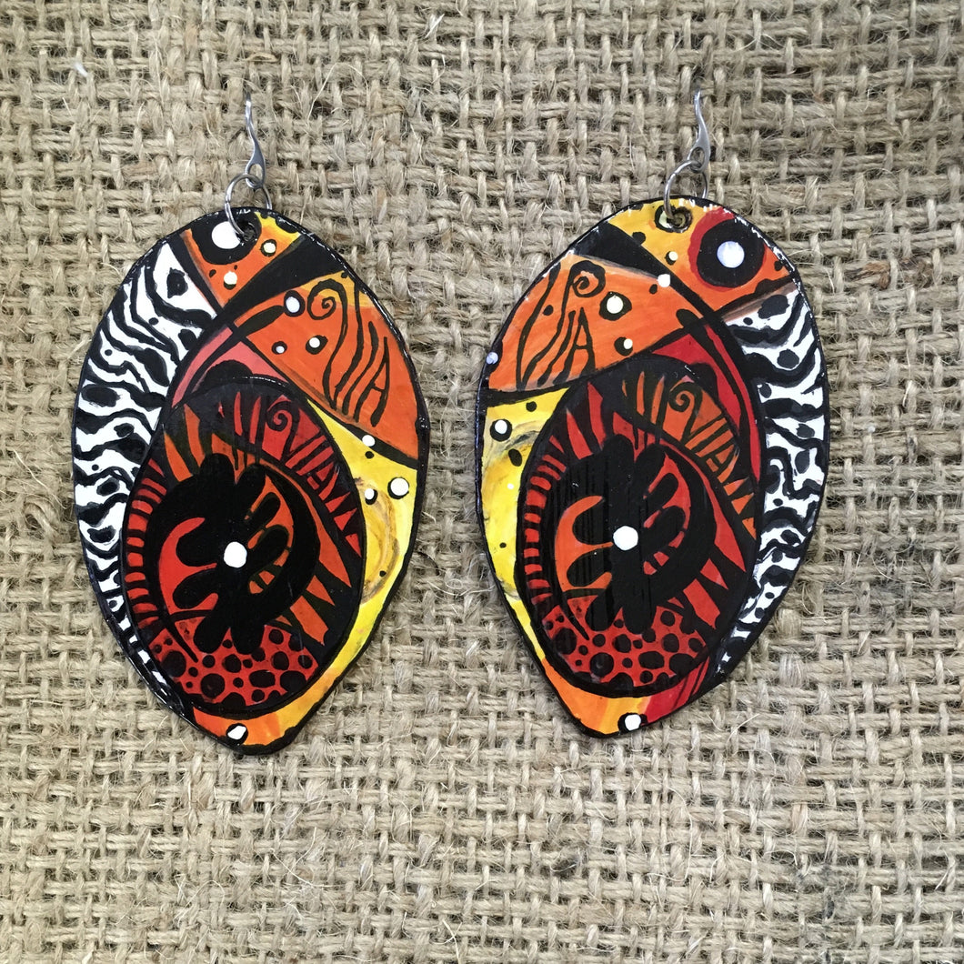 WEARABLE ART EARRINGS ADINKRA STYLE