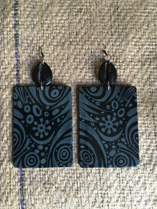Earrings Wearable Art Hand Painted Rectangle  BLACKOUT STYLE