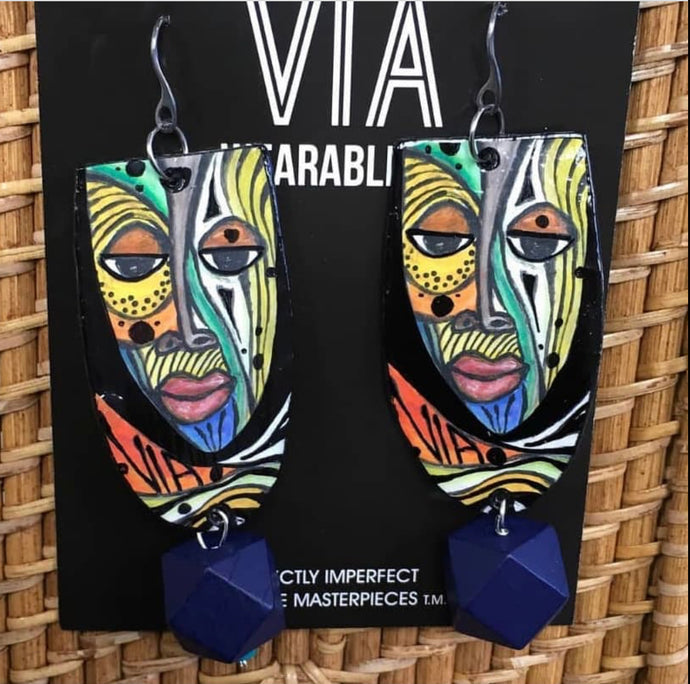 Earrings Via Wearable Art Afrocentric Mask