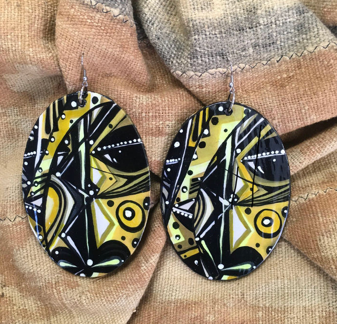 Via Wearable Art Earrings Mask Abstract