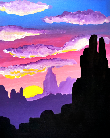 Virtual Paint and Sip - Sunrise Canyon - 6.30pm Saturday 10 October 2020