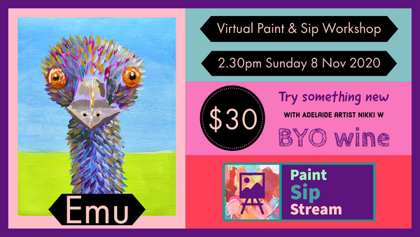 Virtual Paint and Sip - Emu - 2.30pm Sunday 8 November 2020