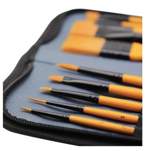 Load image into Gallery viewer, Mont Marte Signature Taklon Brush Set in Wallet 11pce - Acrylic - Art by Nikki W
