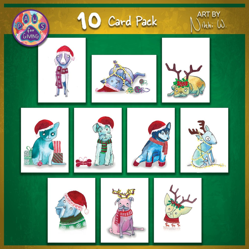Set of 10 Christmas Cards - Art by Nikki W