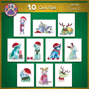 Load image into Gallery viewer, Set of 10 Christmas Cards - Art by Nikki W