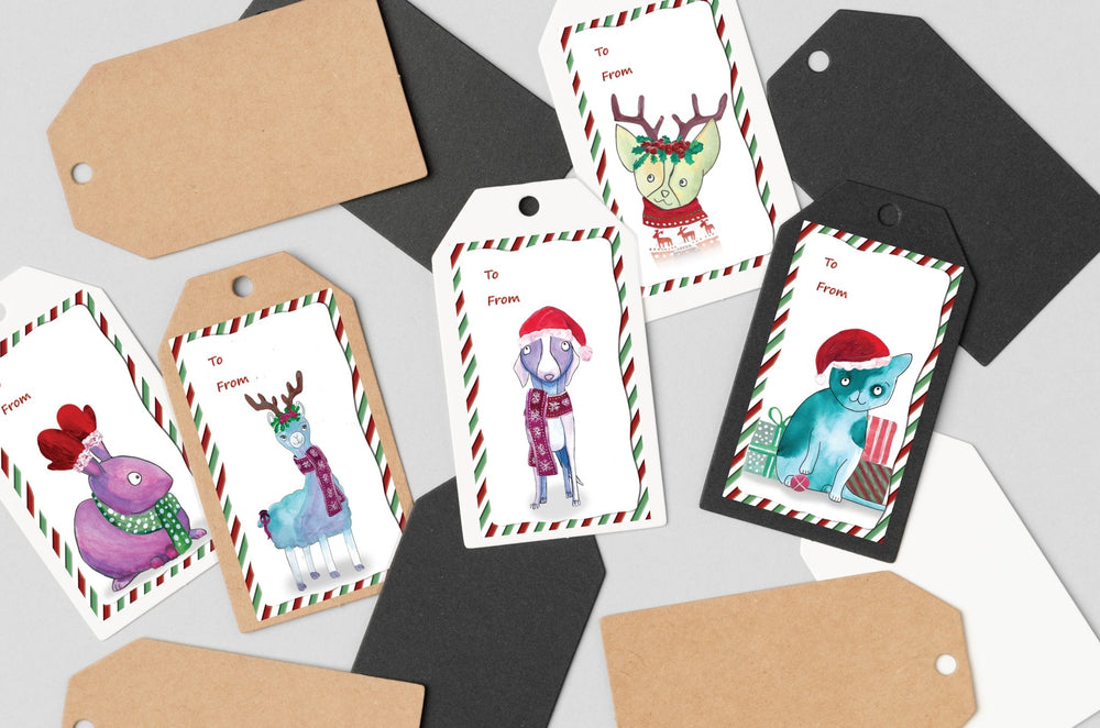 Set of 10 Christmas Gift Labels - Art by Nikki W
