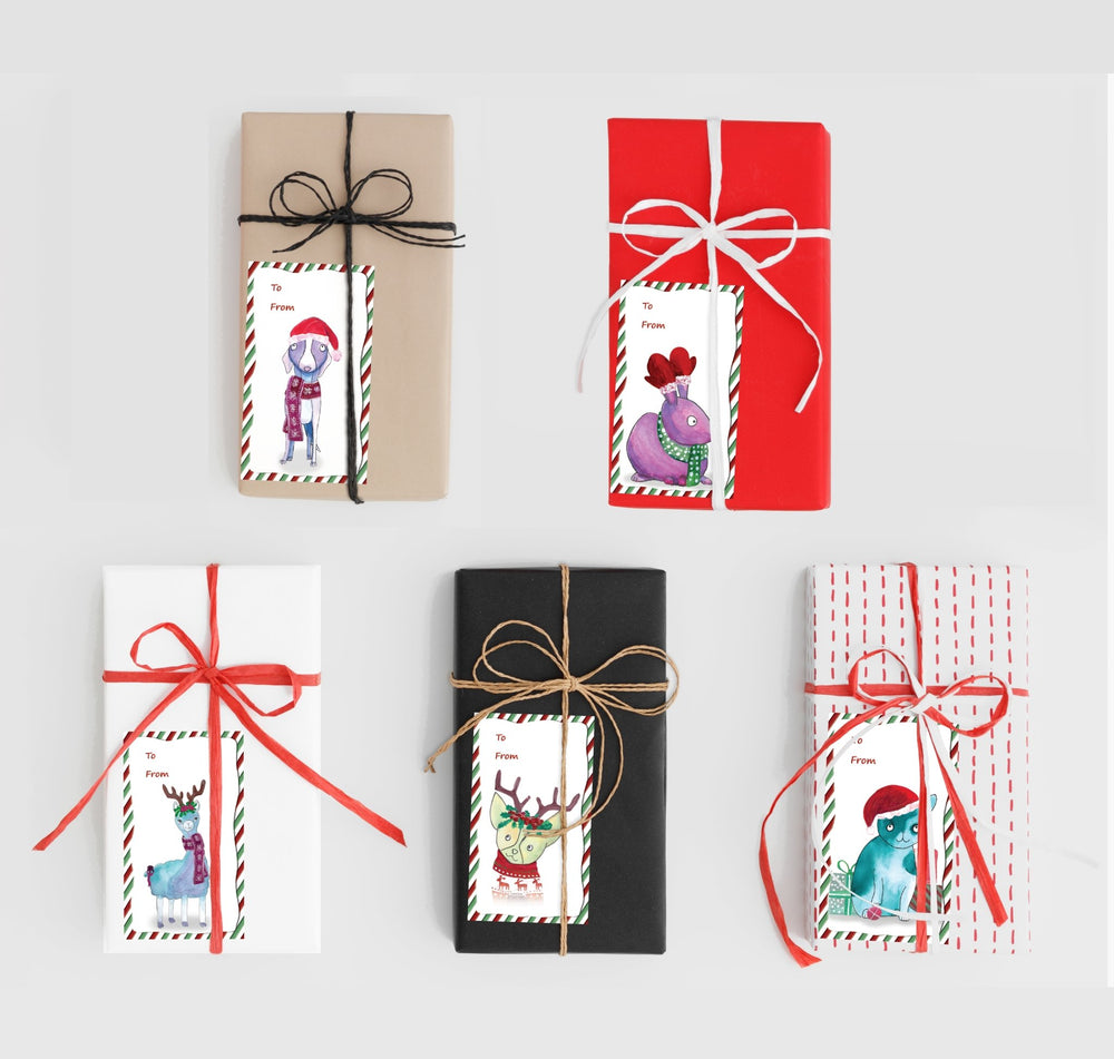 Set of 20 Christmas Gift Labels - Art by Nikki W