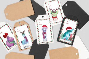 Load image into Gallery viewer, Set of 50 Christmas Gift Labels - Art by Nikki W