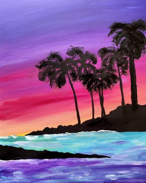 Load image into Gallery viewer, Virtual Paint and Sip - Palm Lagoon - 6.30pm Saturday 5 December 2020 - Art by Nikki W