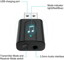 Load image into Gallery viewer, Bluetooth Transmitter and Receiver,Aigital 3.5mm Wireless Adapter for TV Audio Portable Bluetooth Adapter, Bluetooth Audio Receiver