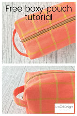 Free boxy pouch sewing pattern by Lou Orth