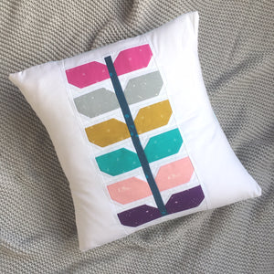 Sprout quilt pattern cushion. Modern quilt design
