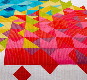 close up of fraction quilt pattern