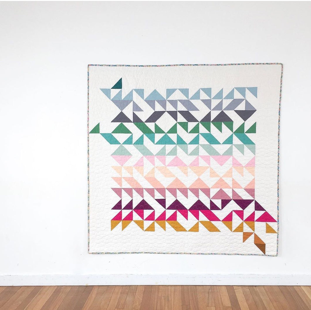 Modern solids HST quilt by Lou Orth Designs