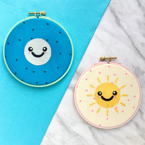 kawaii sun and moon applique pattern
