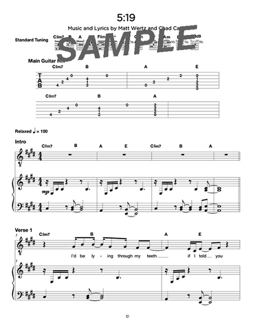 5:19 Chords/Sheet Music (Digital)