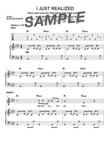 I Just Realized Chords/Sheet Music (Digital)